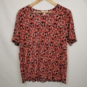 Tradition  Vintage Red and Pink Floral T-shirt